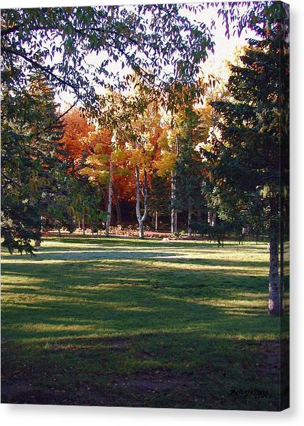 Canvas Print featuring the digital art Autumn Park by Deleas Kilgore