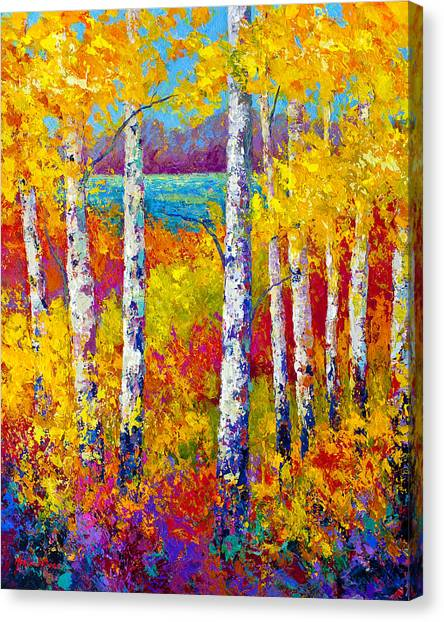 Aspen Tree Canvas Print - Autumn Patchwork by Marion Rose