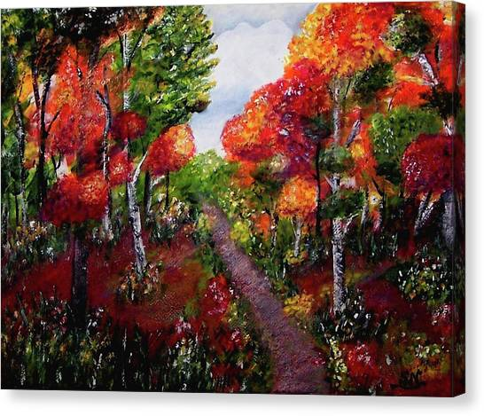 Canvas Print featuring the painting Autumn Path by Sonya Nancy Capling-Bacle