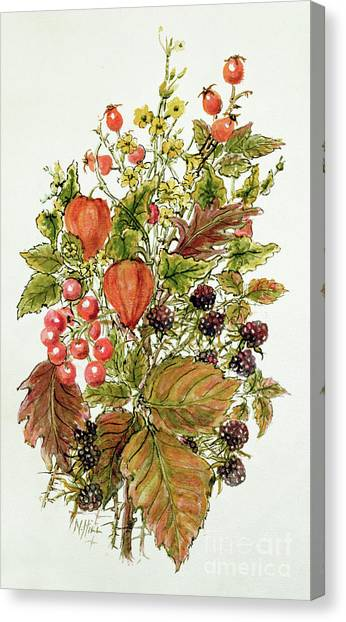 Wild Berries Canvas Print - Autumn Posy by Nell Hill
