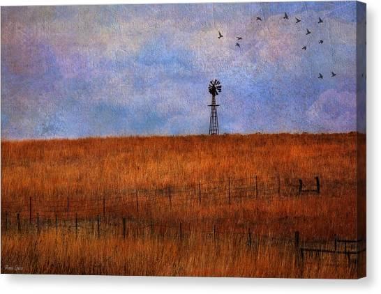 Autumn Prairie Windmill Canvas Print