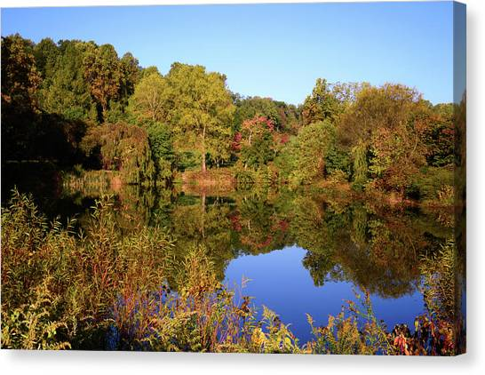Canvas Print featuring the photograph Autumn Reflection by Angie Tirado