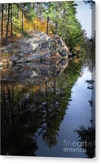 Autumn Reflections At Runaround Pond In Durham Maine  -20224 Canvas Print