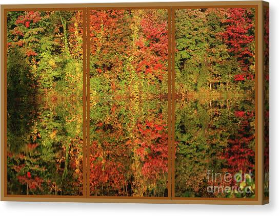Autumn Reflections In A Window Canvas Print