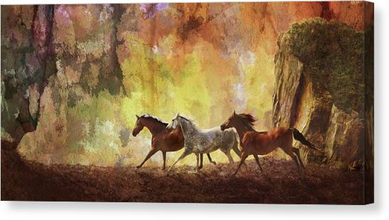 Canvas Print featuring the photograph Autumn Run by Melinda Hughes-Berland