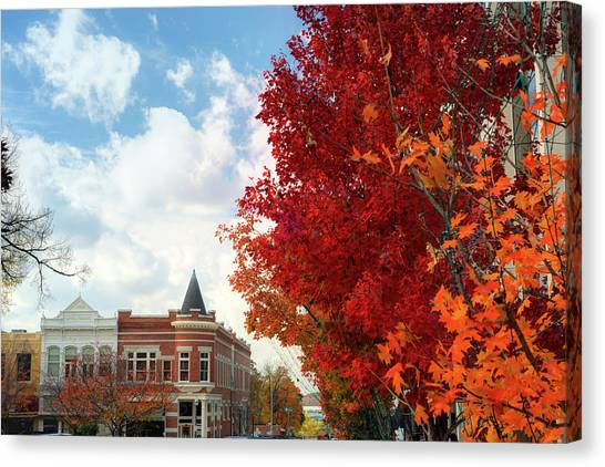 University Of Arkansas Canvas Print - Autumn Splendor Along The Downtown Fayetteville Arkansas Skyline  by Gregory Ballos
