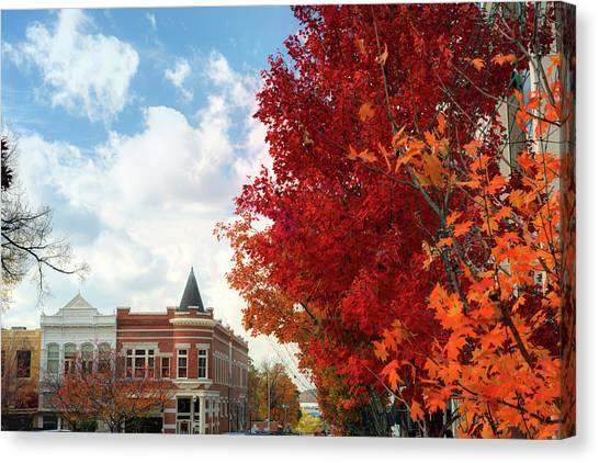 University Of Arkansas University Of Arkansas Canvas Print - Autumn Splendor Along The Downtown Fayetteville Arkansas Skyline  by Gregory Ballos