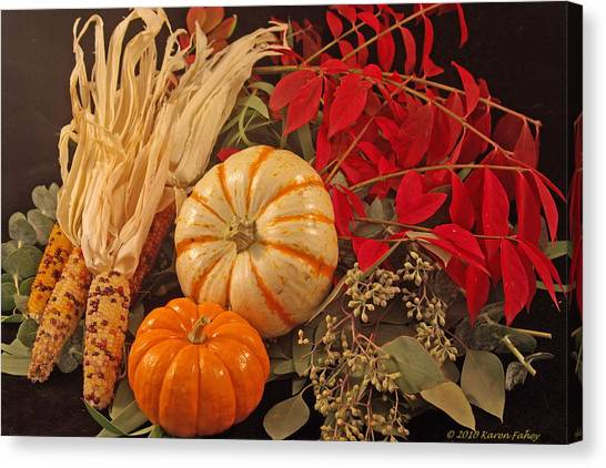Autumn Still Life Canvas Print by Karen Fahey