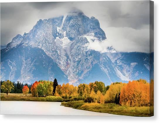 Autumn Storm Over Mount Moran Canvas Print
