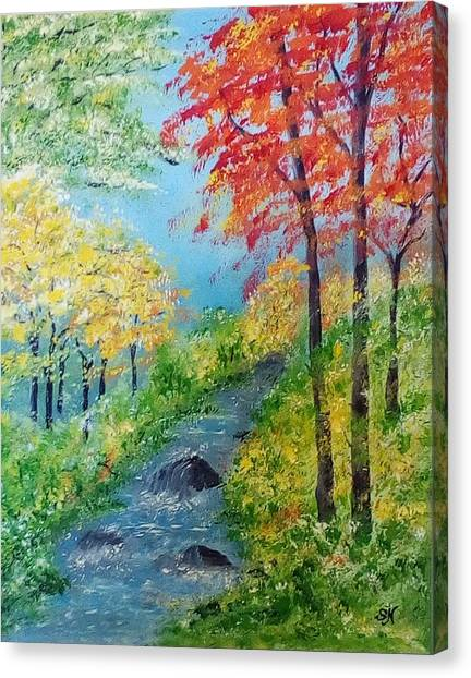 Canvas Print featuring the painting Autumn Stream by Sonya Nancy Capling-Bacle