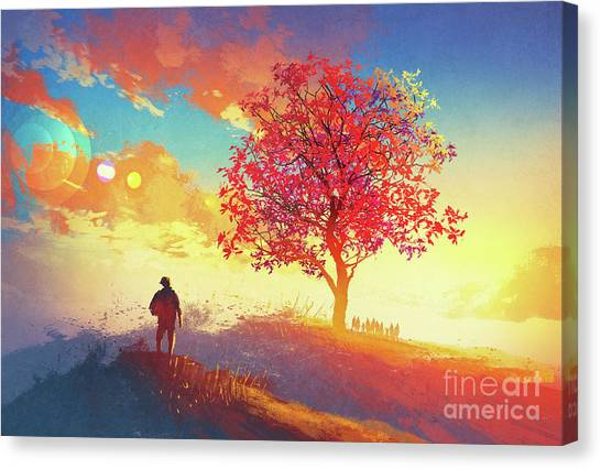 Canvas Print featuring the painting Autumn Sunrise by Tithi Luadthong