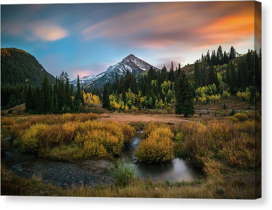 Autumn Sunset In Big Cottonwood Canyon Canvas Print