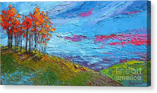 Prairie Sunsets Canvas Print - Autumn Sunset - Modern Impressionist Palette Knife Oil Painting by Patricia Awapara