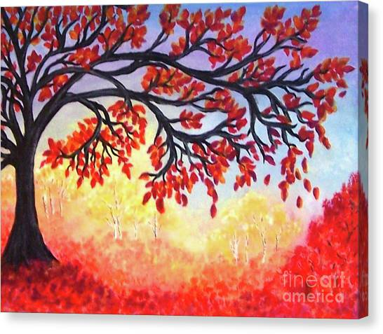 Canvas Print featuring the painting Autumn Tree by Sonya Nancy Capling-Bacle