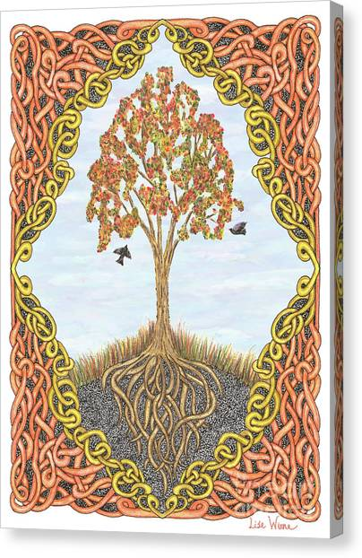 Autumn Tree With Knotted Roots And Knotted Border Canvas Print