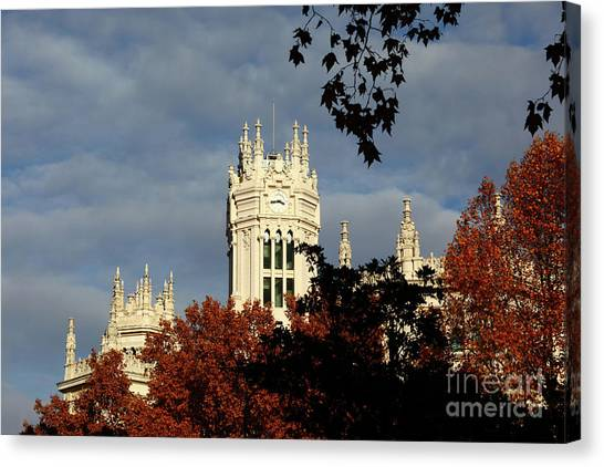 Prado Canvas Print - Autumn Trees And Palace Of Communication Madrid by James Brunker