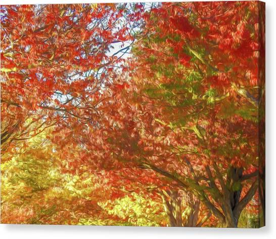 Autumn Trees Digital Watercolor Canvas Print