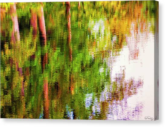 Canvas Print featuring the photograph Autumn Trees Reflect In A Creek by Dee Browning