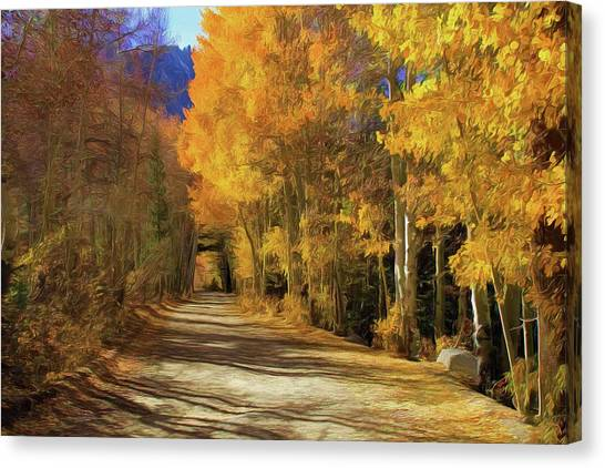 June Lake Canvas Print - Autumn Walk At June Lake by Donna Kennedy