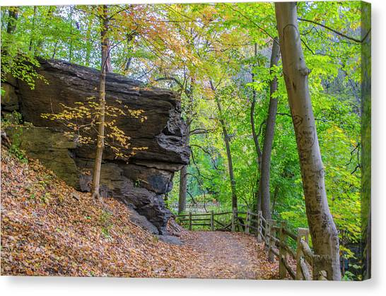 Canvas Print featuring the photograph Autumn Walk In Fairmount Park -  Licoln Drive by Bill Cannon