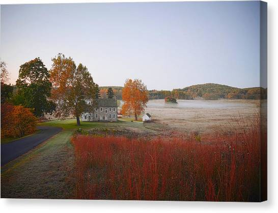 Canvas Print featuring the photograph Autumn Walk In Valley Forge by Bill Cannon