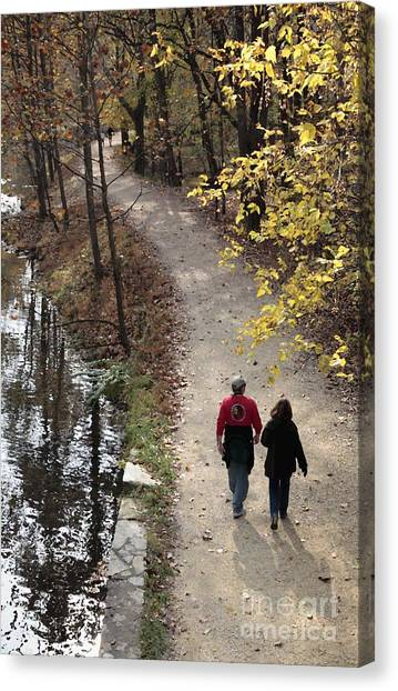 Autumn Walk On The C And O Canal Towpath With Oil Painting Effect Canvas Print