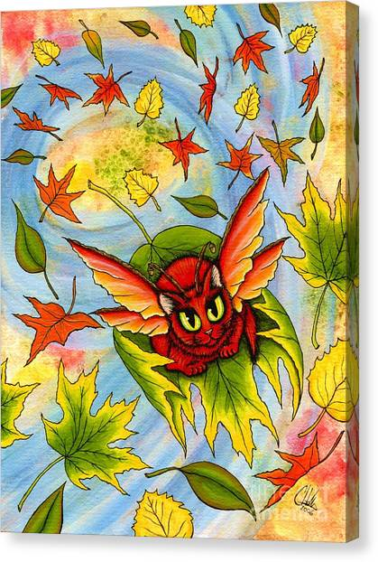 Autumn Winds Fairy Cat Canvas Print