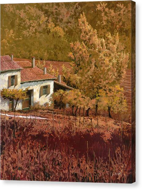 Rural Scenes Canvas Print - Autunno Rosso by Guido Borelli