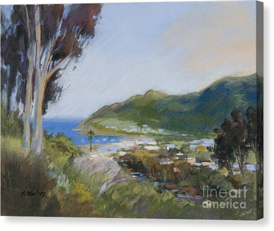 Avalon Harbor - Taking The High Road Catalina Island Oil Painting Canvas Print by Karen Winters
