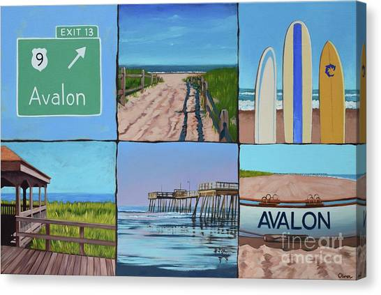 Surfboard Fence Canvas Print - Avalon Montage  by Elisabeth Olver