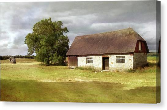 Avebury Cottage Tree And Standing Stone Canvas Print
