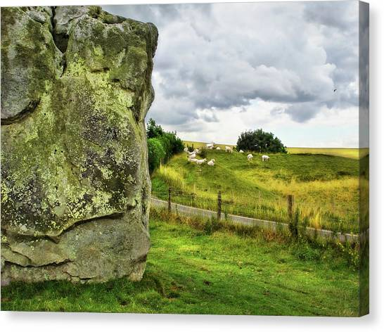 Avebury Standing Stone And Sheep Canvas Print