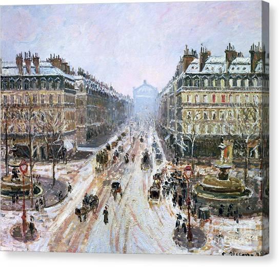 Camille Canvas Print - Avenue De L'opera - Effect Of Snow by Camille Pissarro