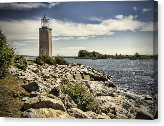 University Of Connecticut Canvas Print - Avery Point Lighthouse by Phyllis Taylor