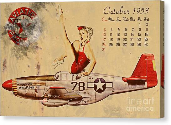 Pin-up Canvas Print - Aviation 1953 by Cinema Photography