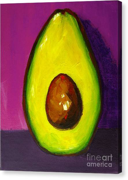 Avocado Modern Art, Kitchen Decor, Purple Background Canvas Print