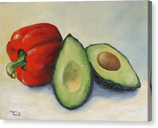 Avocado With Bell Pepper Canvas Print