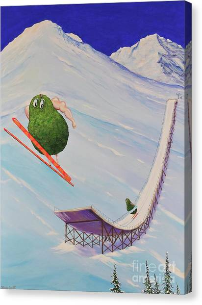 Canvas Print featuring the painting Avocados Can Fly by Mary Scott