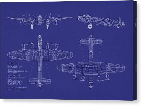 Aircraft Canvas Print - Avro Lancaster Bomber Blueprint by Michael Tompsett