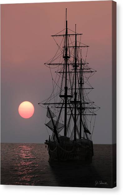 Awaiting The Sunset Canvas Print by Joe Bonita