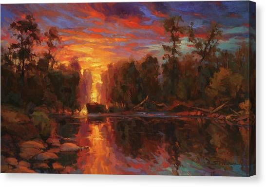 Lake Sunrises Canvas Print - Awakening by Steve Henderson