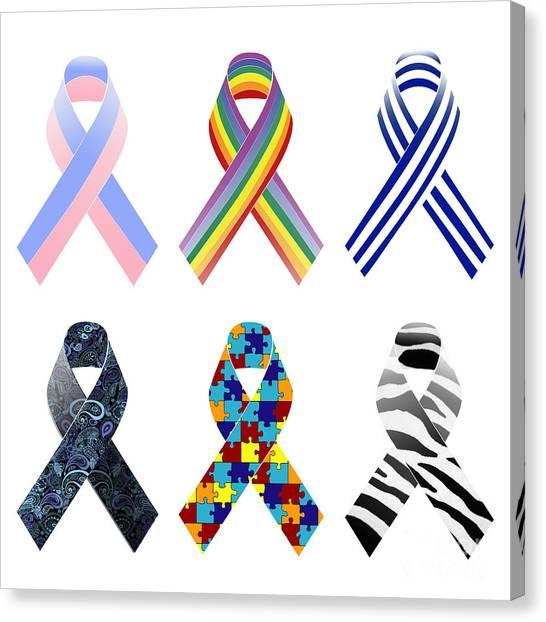 Preemie Canvas Print - Awareness Ribbons Pattern by Sophie McAulay
