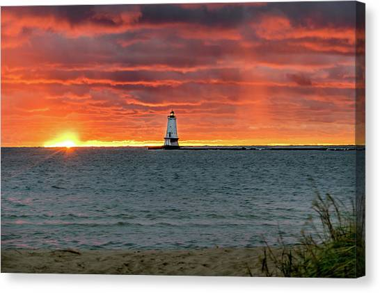 Awesome Sunset With Lighthouse  Canvas Print