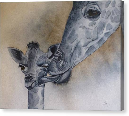 Baby And Mother Giraffe Canvas Print