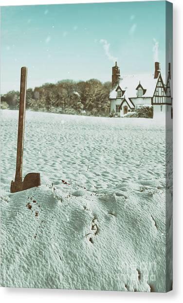 Treeline Canvas Print - Axe In The Snow by Amanda Elwell