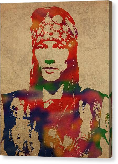 Axl Rose Canvas Print - Axl Rose Watercolor Portrait Acdc by Design Turnpike