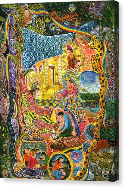 Canvas Print featuring the painting Ayahuasca Chayana by Pablo Amaringo