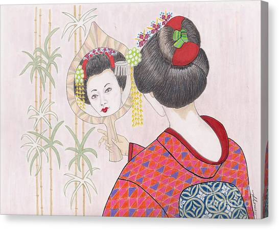 Ayano -- Portrait Of Japanese Geisha Girl Canvas Print