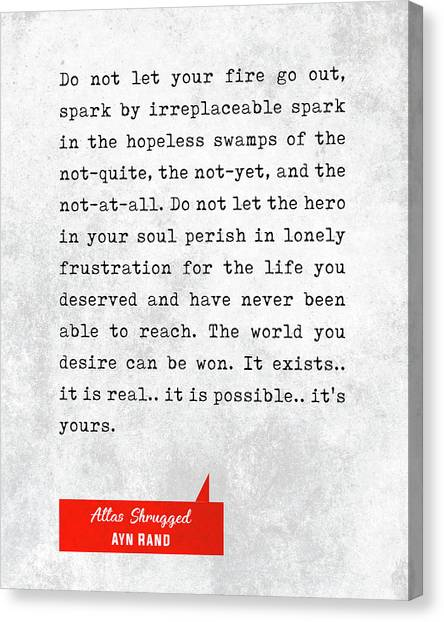 Ayn Rand Quotes - Atlas Shrugged Quotes - Literary Quotes - Book Lover Gifts - Typewriter Quotes Canvas Print