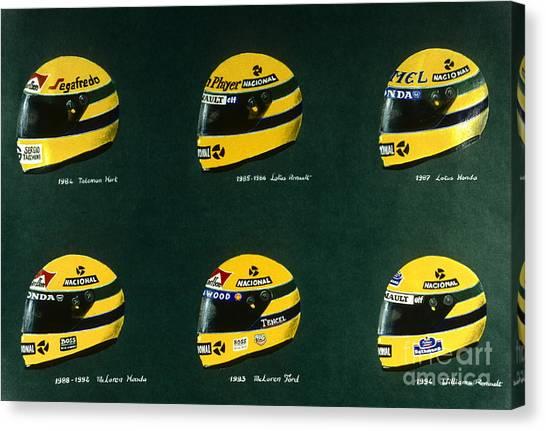 Cobra Canvas Print - Ayrton Senna's Helmets by Alain Baudouin